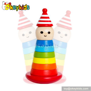 Colorful educational wooden clown baby stacking toys for sale W13D062