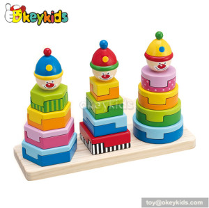 Most popular cartoon wooden educational stacking toys for toddlers W13D042