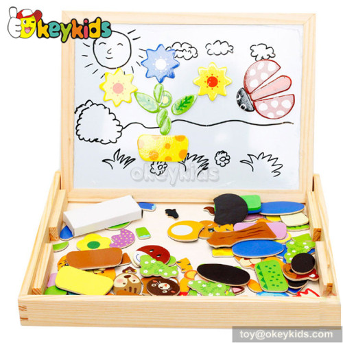 Best design double-sided educational kids wooden magnetic drawing board W12B060