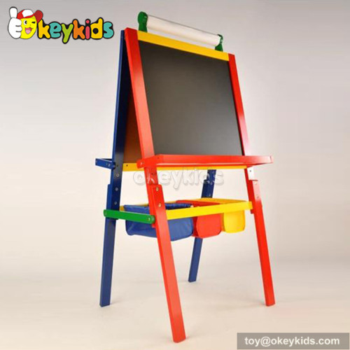 Best design double-sided lovely pink children wooden chalkboard easel W12B049A