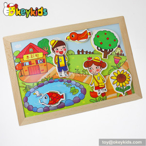 Best design educational wooden magnetic drawing board for kids W12B053
