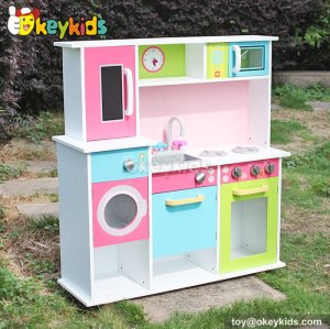 Cooking play toy wooden children kitchen sets with refrigerator W10C230