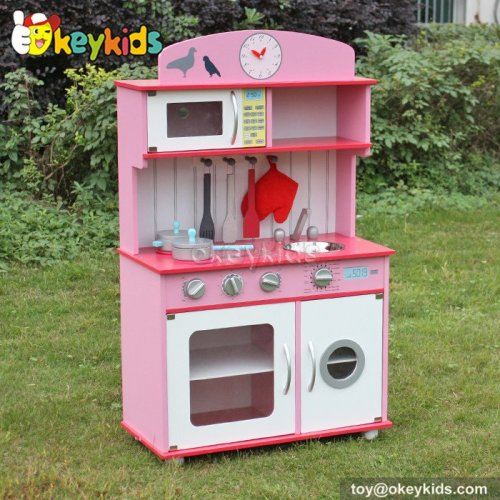 Cooking play toy pink wooden play kitchen for girls W10C232