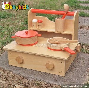 Most popular kitchen play toy children wooden kids cooking set W10C193