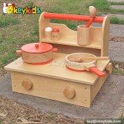 Most popular kitchen play toy children wooden kids cooking set W10C193