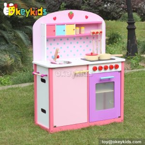 Cooking play toy pink wooden kitchen set for girls W10C231