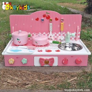 Cooking play toy lovely pink wooden toddler kitchen set W10C226