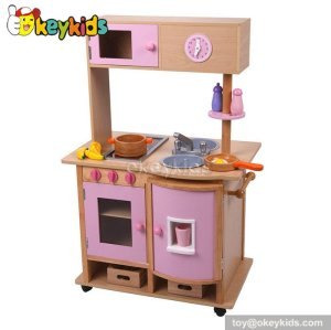 New design cooking play toy wooden girls play kitchen W10C114