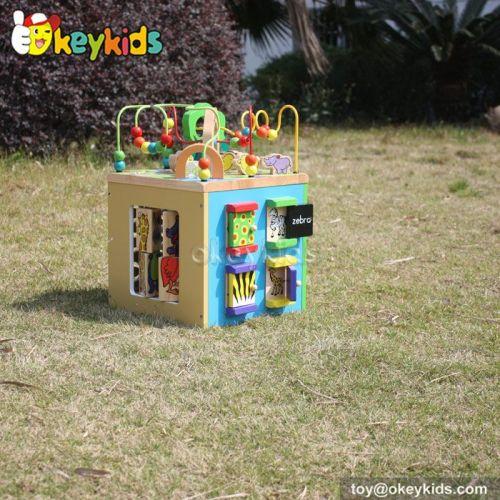 Okeykids Best design educational beads and maze toy children wooden activity cube W12D048
