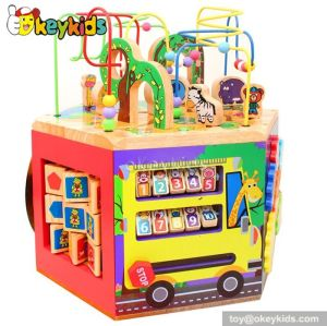 Top fashion educational beads and maze toy children wooden alphabet activity cube W12D028