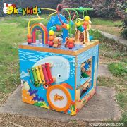 Okeykids Top fashion educational beads and maze toy wooden baby activity cube W12D033
