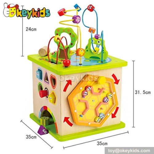 Top fashion educational beads and maze toy wooden kids activity cube W12D026