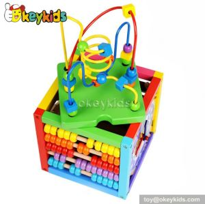 Most popular educational beads and maze toy wooden activity cube toy W12D025