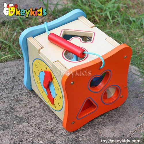 Most popular educational beads and maze toy wooden multi activity cube W12D061