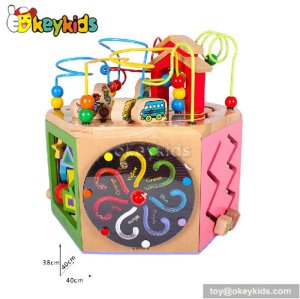 Most popular preschool beads and maze toy wooden activity cube W11B055