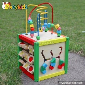 Top fashion kids preschool multi beads toy wooden play cube W11B060