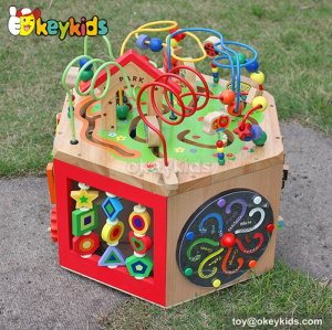 Top fashion kids preschool multi beads toy wooden toy cube W11B061