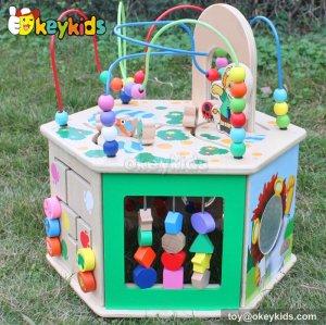 Top fashion kids preschool multi beads toy wooden toy activity cube W11B081