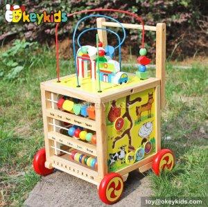 Top fashion multi baby walker toy wooden baby activity block W11B128