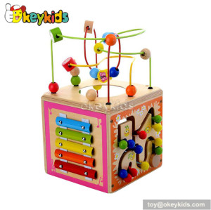 Most popular toddlers educational toy wooden activity cube for kids W11B122