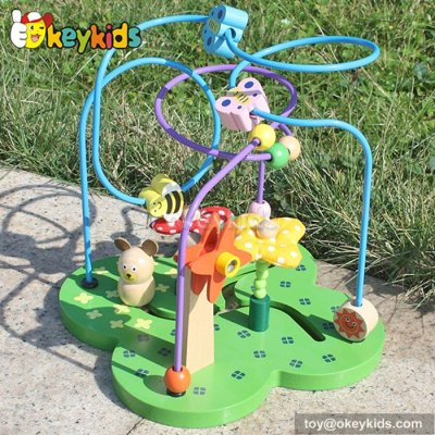 Top fashion toddlers home play wooden wire bead maze for 1 year old W11B080