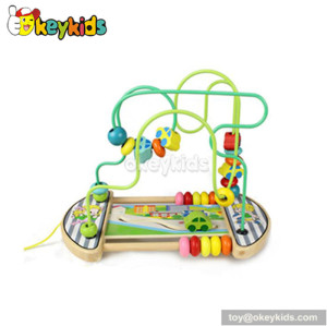Best design home play kids wooden bead wire toy for one year old W11B013