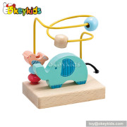 Best design baby wooden toys with beads on wires for 1 year old W11B021