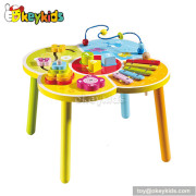 Best design multi baby beads toy wooden bead activity table W11B027