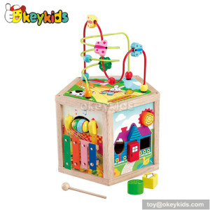 Most popular toddlers educational toy wooden play cube activity center W11B028