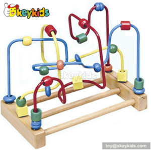 Best design toddlers educational toy wooden wire toy with beads W11B042