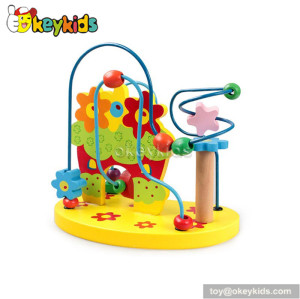 Wholesale cheap educational toy toddlers wooden toy with beads and wire W11B114