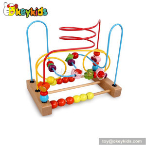 Wholesale cheap educational toy toddlers wooden toy with wires and beads W11B115
