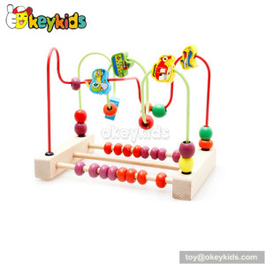 Wholesale cheap educational toy toddlers wooden wire bead maze toys W11B117