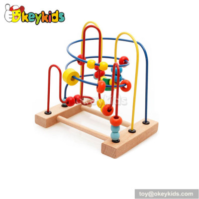 Wholesale cheap educational toy toddlers wooden wire bead toy W11B118
