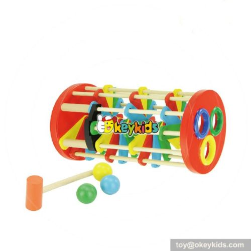 Most popular educational kids wooden pound and roll tower W11G024