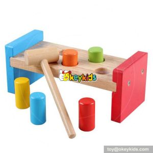 Most popular kids educational pounding bench wooden toy hammer and pegs W11G022