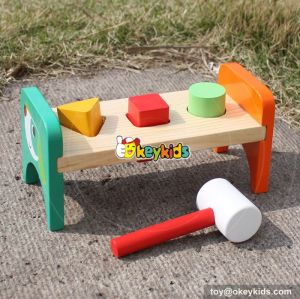 Most popular preschool kids pounding wooden hammer bench toy W11G026