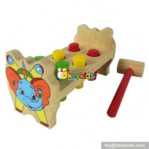 Most popular preschool kids pound bench hammer and peg wooden toy W11G014