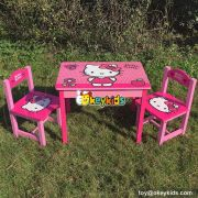 High quality cartoon hello kitty toddler wooden table and chairs W08G161