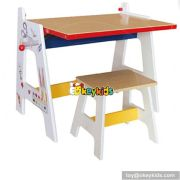 High quality cartoon bedroom furniture wooden kids desk with drawing board W08G126