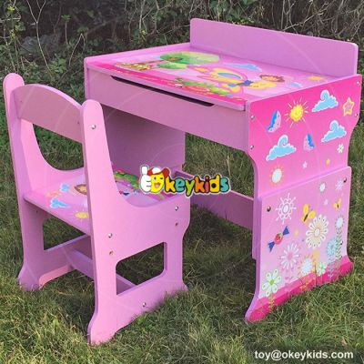 High quality cartoon bedroom furniture wooden kids desk chairs with drawing board W08G162