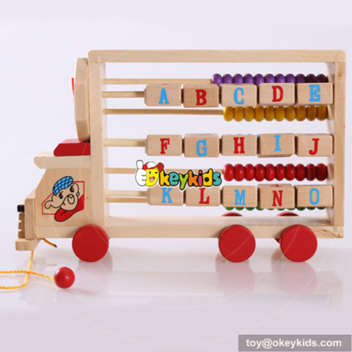 New design toddlers preschool learning toy wooden toy abacus maths car W12C008