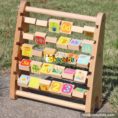 New design toddlers preschool learning toy wooden toy abacus maths car W12C010