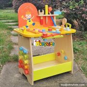Best design large play builder children toy wooden workbench with tools W03D077