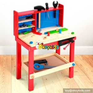 Best design large play builder wooden toy workbench for toddlers W03D044