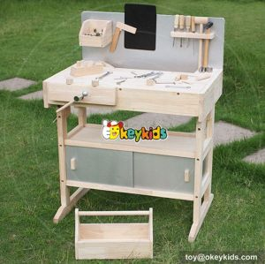 Best design large play builder wooden child's workbench with tools W03D040A