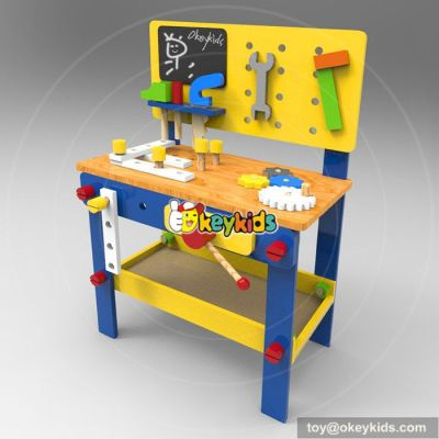 Best design large play builder children wooden toy workbench with tools W03D076B
