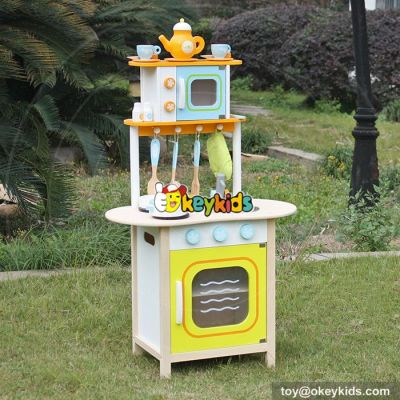 Okeykids Custom kitchen lifestyle educational toy wooden kids play kitchen W10C246