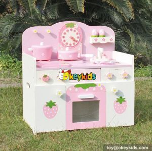 New design strawberry children play wooden toy kitchen set W10C148