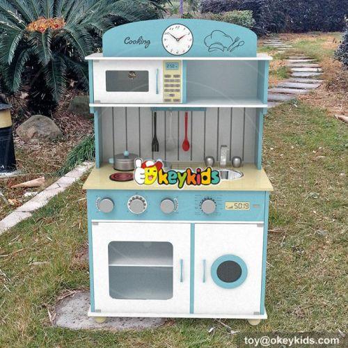 New design blue wooden children toy kitchen set W10C266